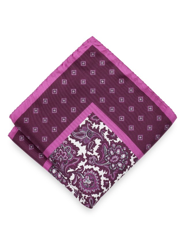 Silk Paisley & Medallion Pocket Square