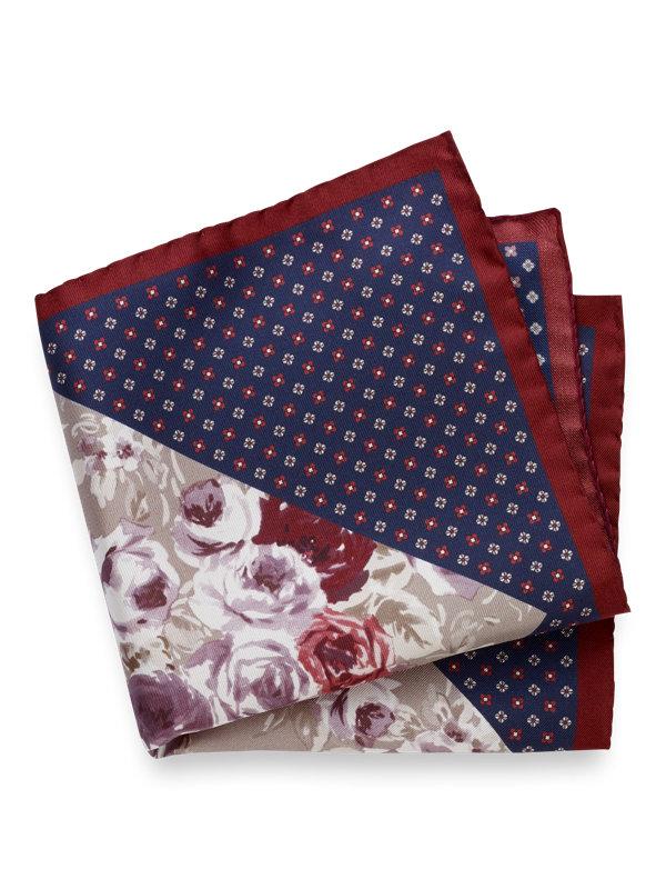 Silk Floral And Mini Medallion Pocket Square