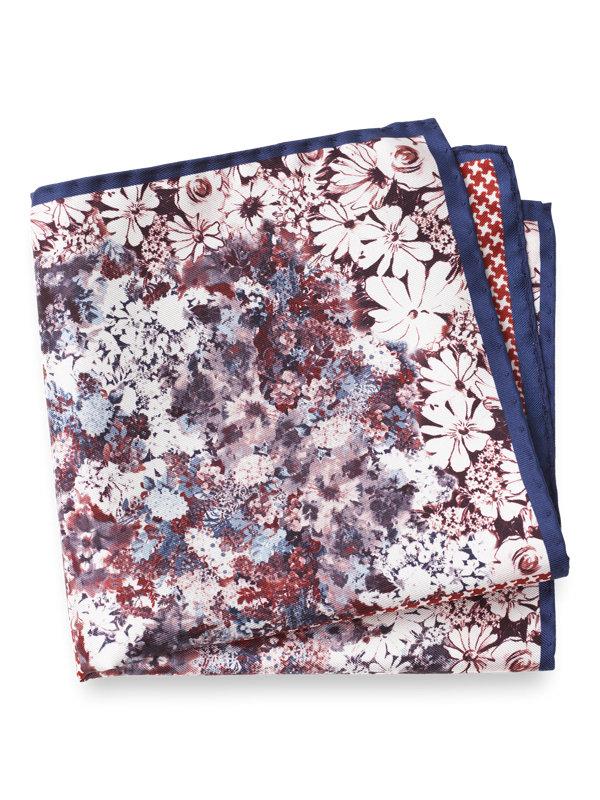 Silk Floral & Houndstooth Pocket Square