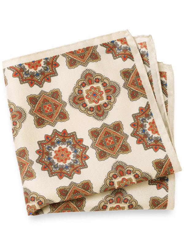 Printed Silk Deco Pocket Square