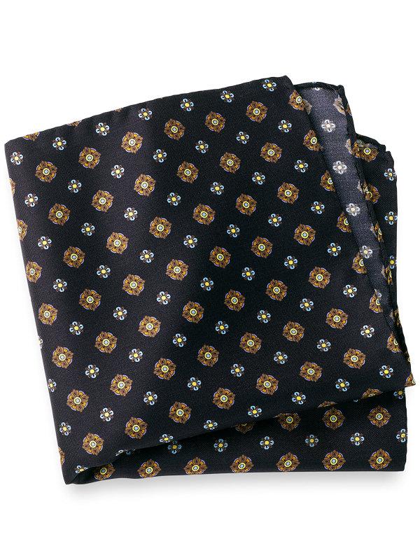 Printed Silk Mini Medallion Pocket Square
