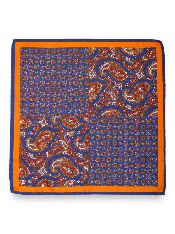 Silk Medallion and Paisley Pocket Square