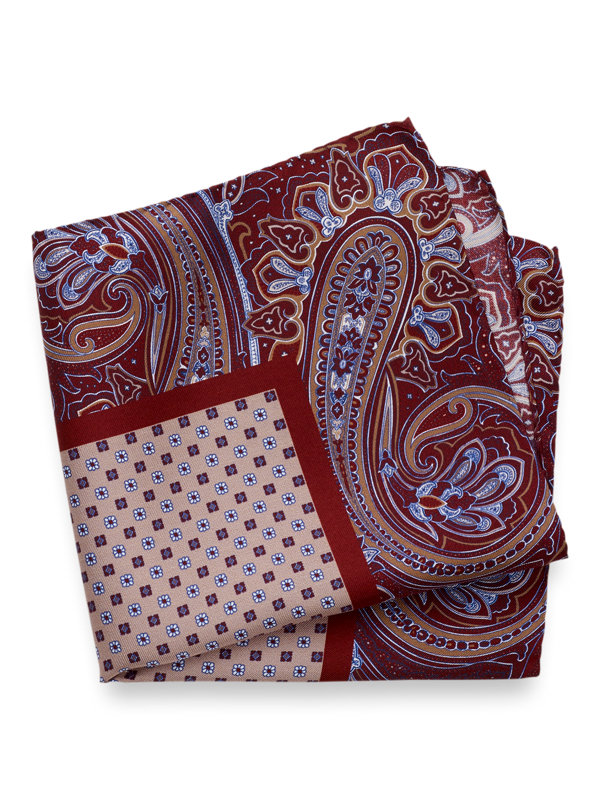 Silk Paisley & Mini Medallion Pocket Square