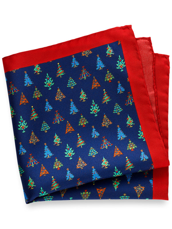 Printed Silk Christmas Tree Pocket Square