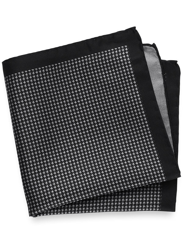 Printed Silk Houndstooth Pocket Square