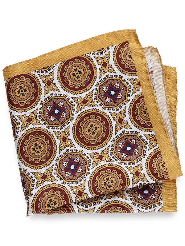Printed Silk Medallion Pocket Square