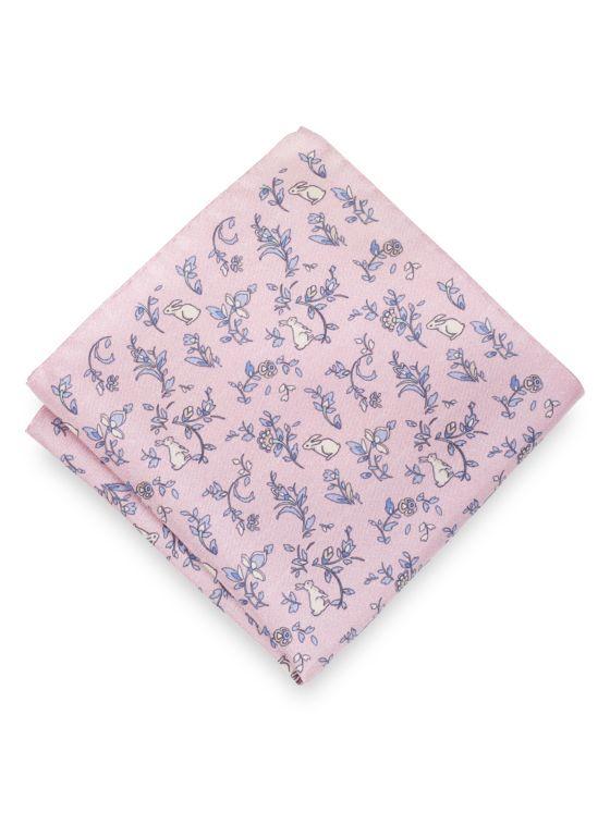 Silk Botanical & Bunny Motif Pocket Square