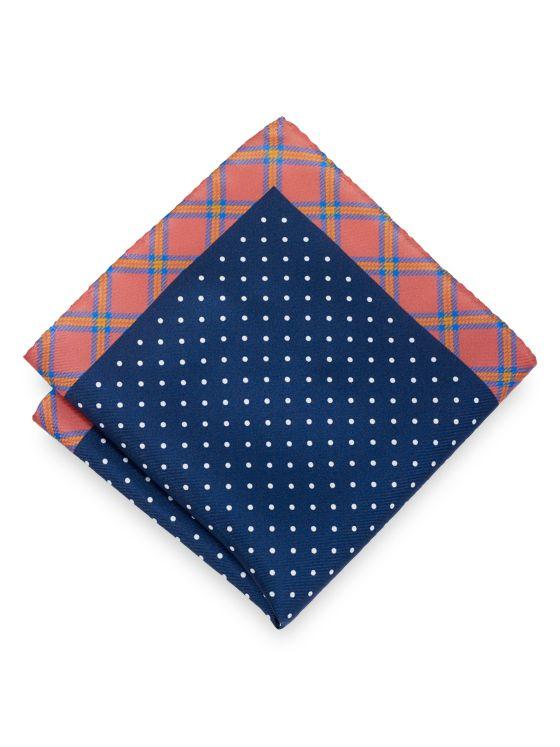 Silk Dot & Plaid Pocket Square
