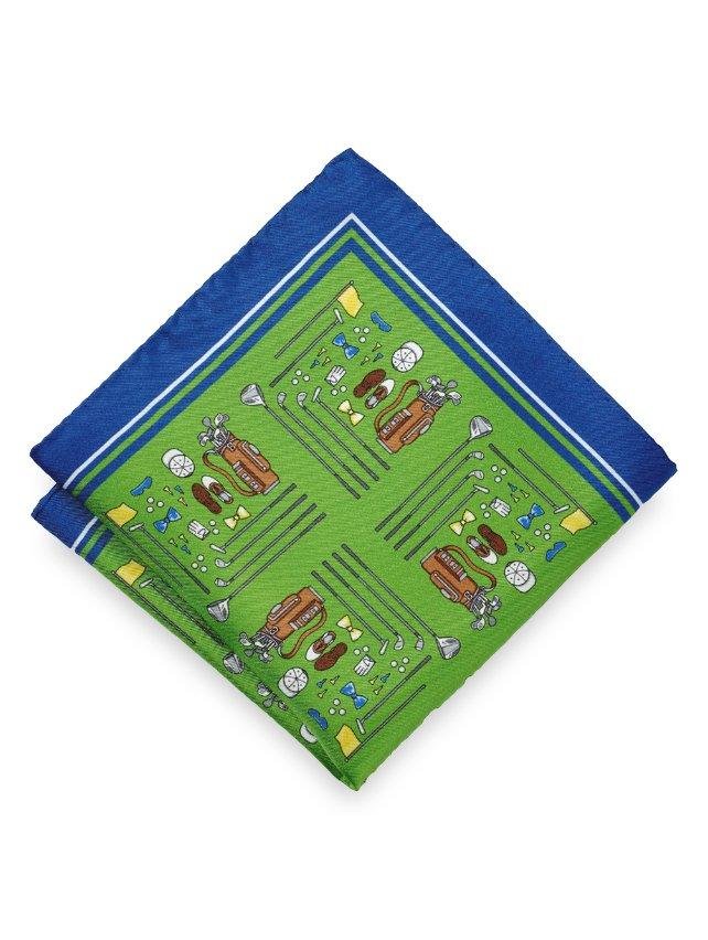 Silk Golf Motif Pocket Square
