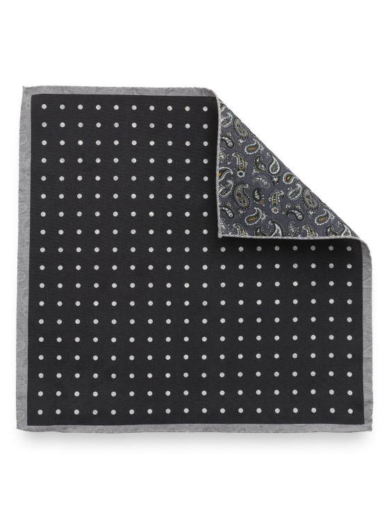 Silk Reversible Dot & Paisley Pocket Sqaure