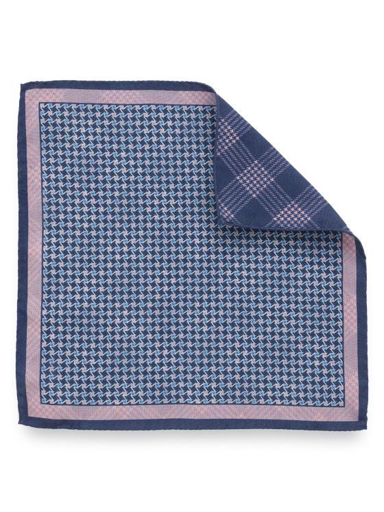 Silk Reversible Houndstooth & Plaid Pocket Sqaure