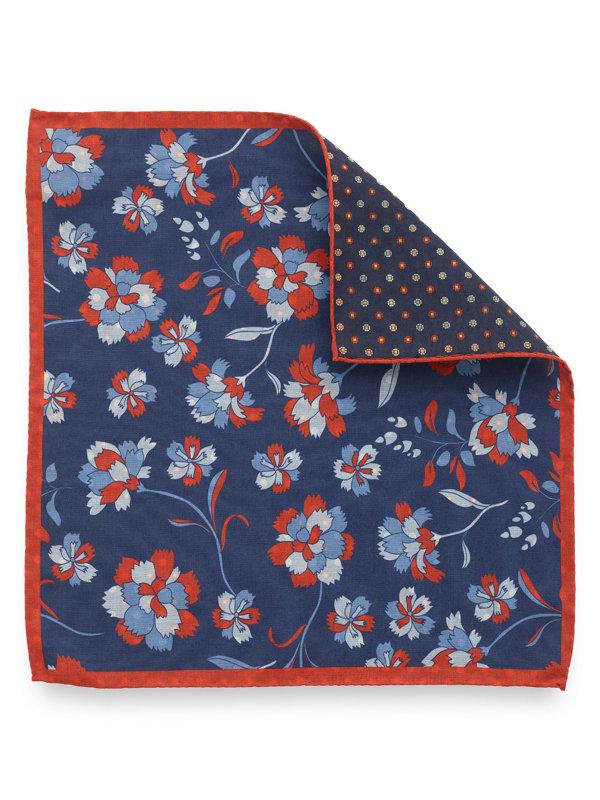 Silk Reversible Floral & Medallion Pocket Sqaure