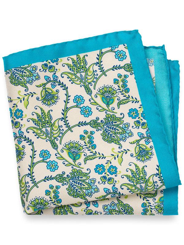 Floral Printed Silk Pocket Square