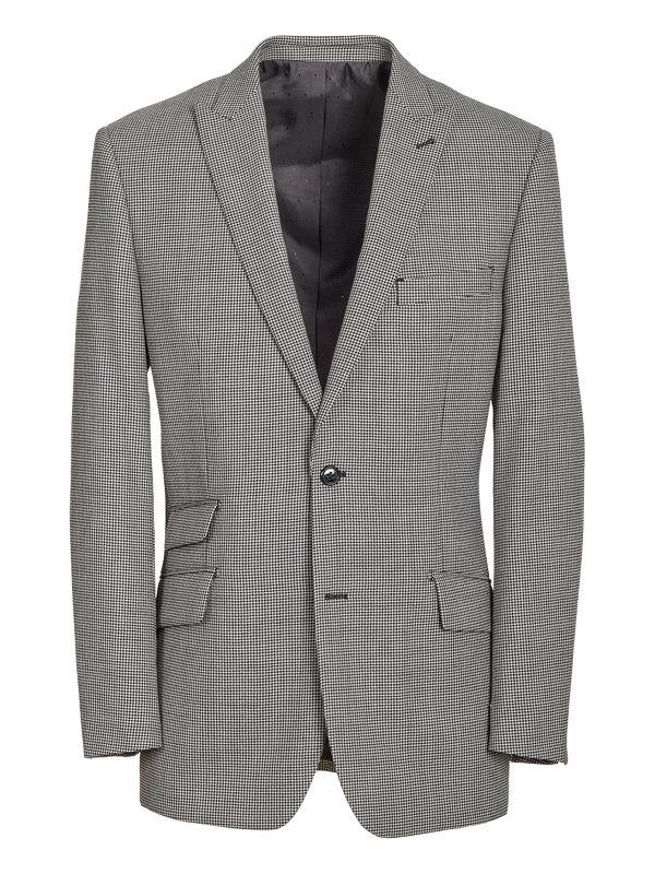 Tailored Fit Wool Houndstooth Peak Lapel Suit Jacket