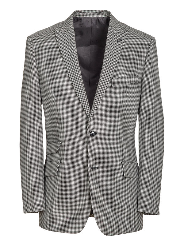 Tailored Fit Wool Houndstooth Peak Lapel Suit Jacket