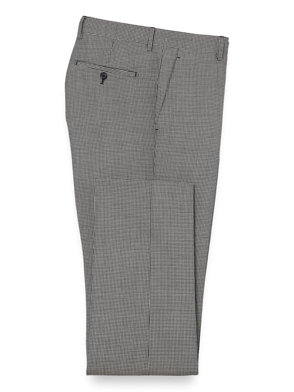 Wool Houndstooth Flat Front Suit Pant