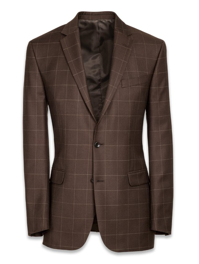 Wool Single Breasted Notch Lapel Suit Jacket