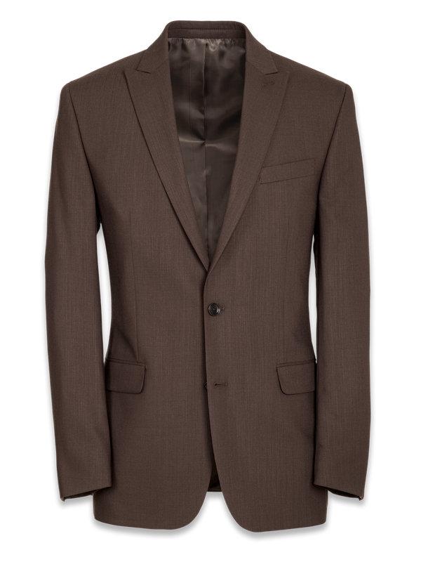 Classic Fit Essential Wool Peak Lapel Side Vents Suit Jacket