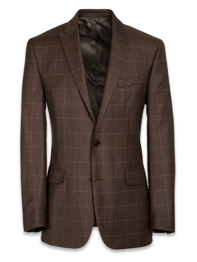 Wool Single Breasted Peak Lapel Suit Jacket