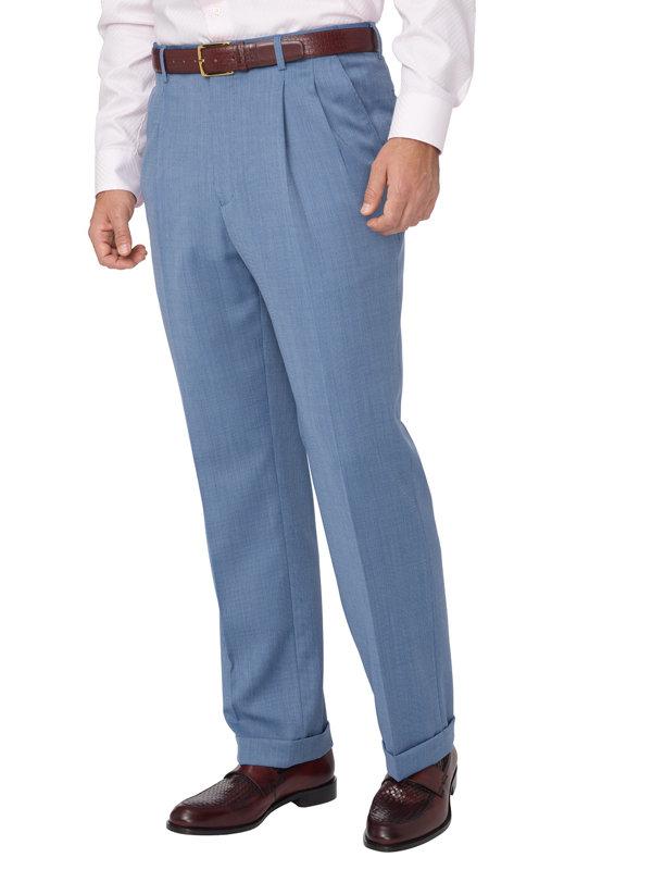 Classic Fit Impeccable Birdseye Pleated Suit Pant