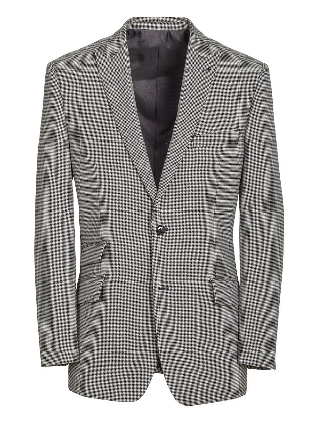 Wool Houndstooth Suit Jacket