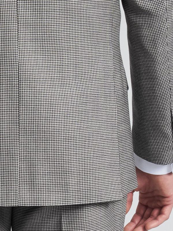 Wool Houndstooth Peak Lapel Suit Jacket