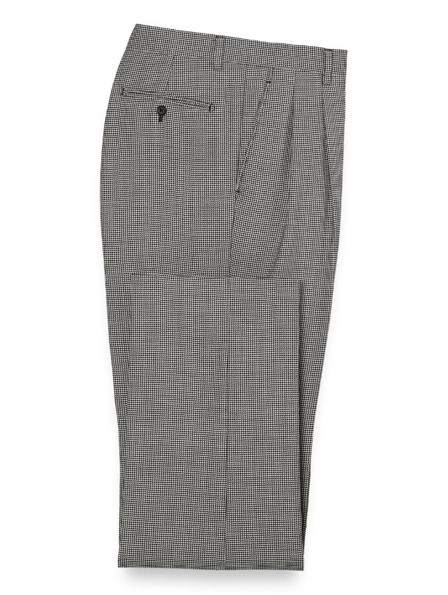Wool Houndstooth Pleated Suit Pants