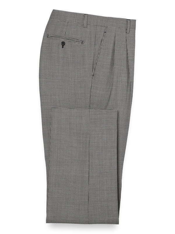 Wool Houndstooth Pleated Suit Pant