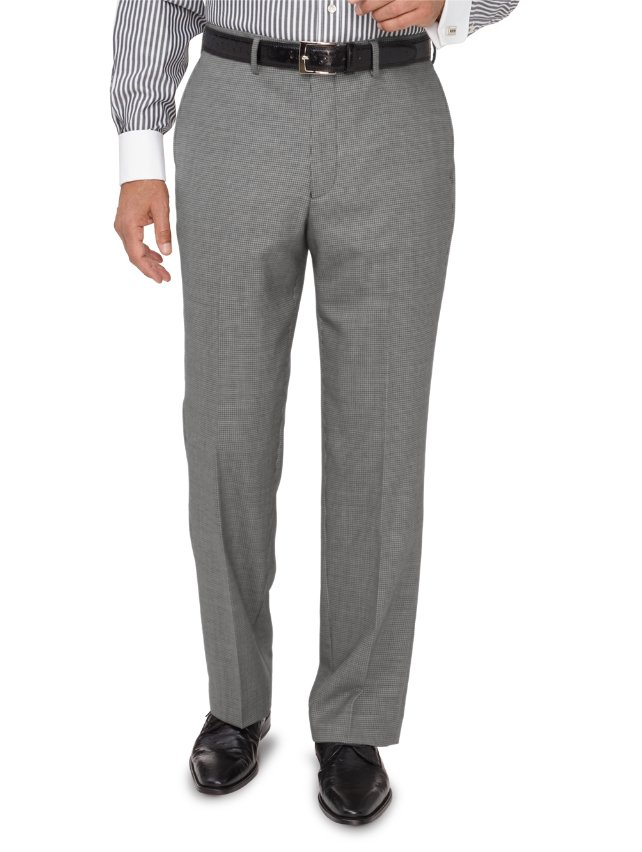 Wool Houndstooth Flat Front Suit Pants