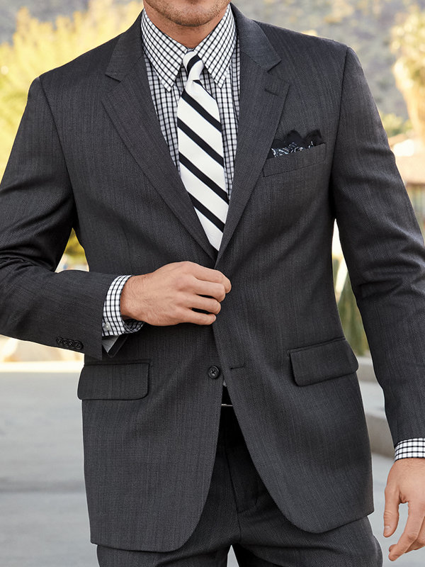 Tailored Fit Impeccable Birdseye Notch Lapel Suit Jacket