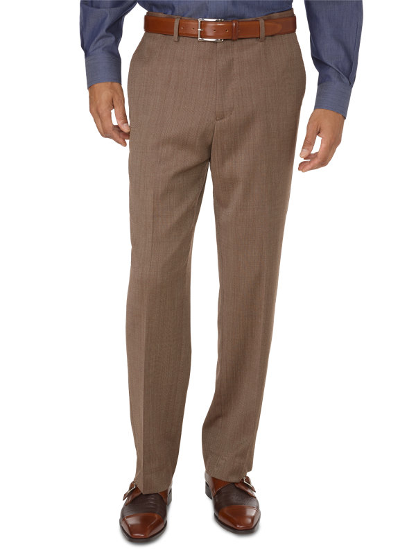 Tailored Fit Impeccable Birdseye Flat Front Suit Pant