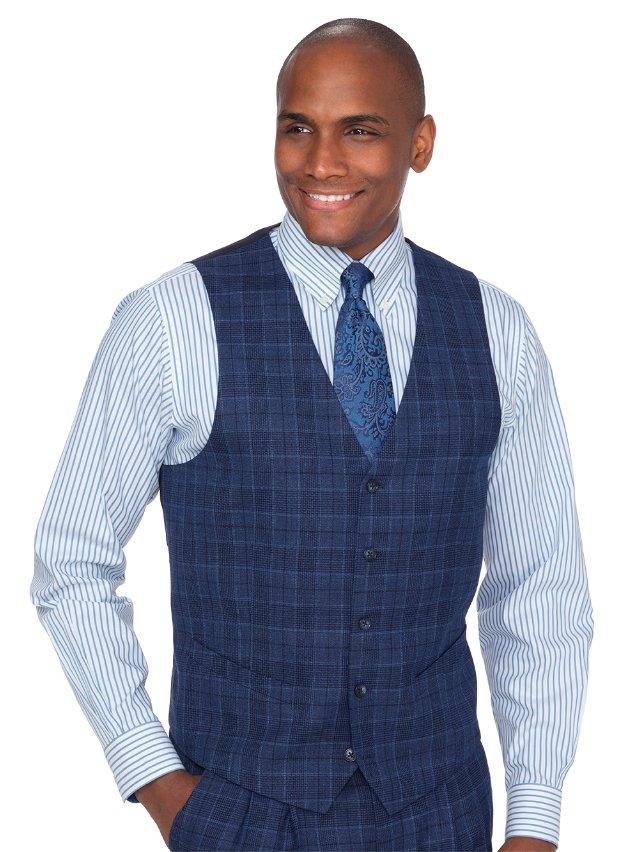 Wool Plaid Suit Vest