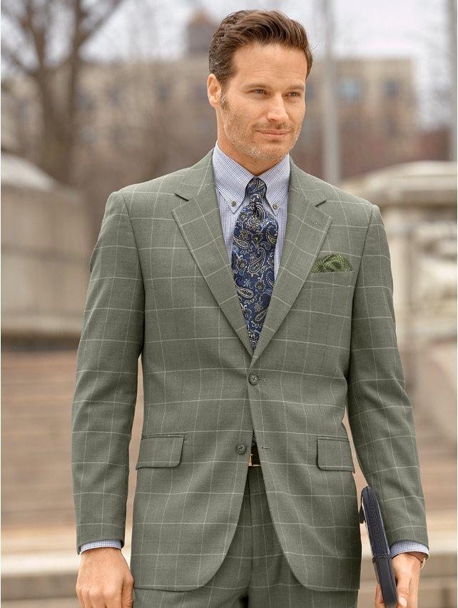Wool & Silk Windowpane Suit Jacket