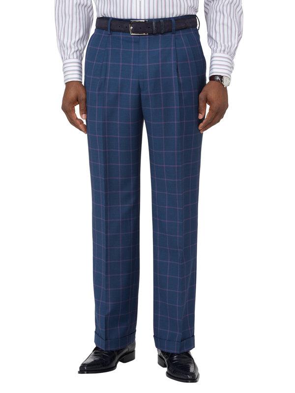Wool Windowpane Pleated Suit Pants