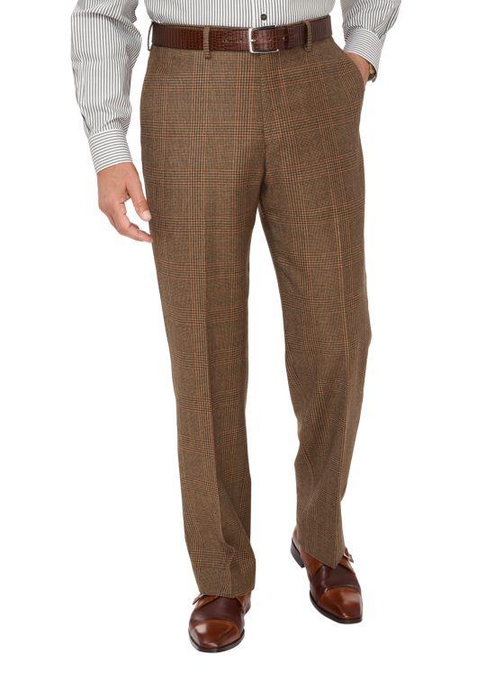 Wool Glen Plaid Flat Front Suit Pants