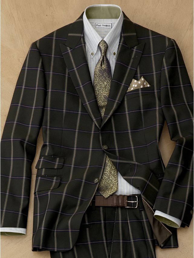 Wool Windowpane Suit Jacket