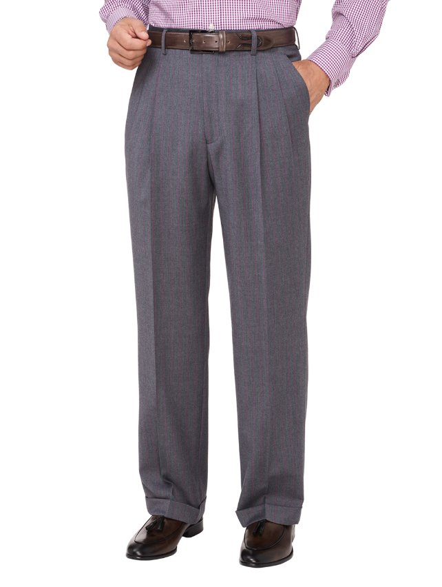 Super 100's Wool Stripe Pleated Suit Pants