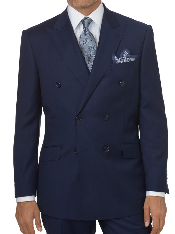 Classic Fit Sharkskin Double Breasted Peak Lapel Suit Jacket