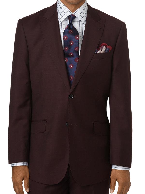 Classic Fit Sharkskin Single Breasted Peak Lapel Suit Jacket