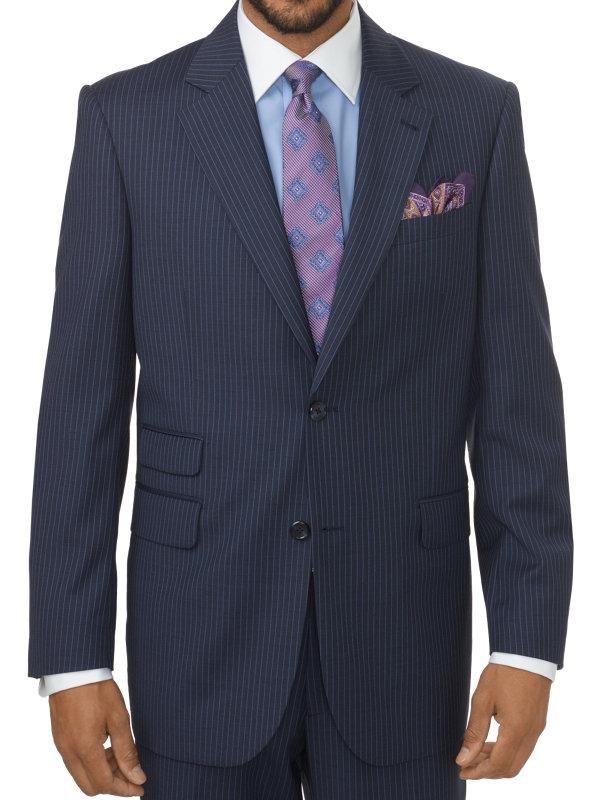 Classic Fit Stripe Wool Notch Lapel Suit Jacket
