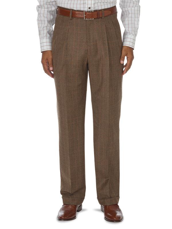 Classic Fit Glen Plaid Pleated Suit Pant