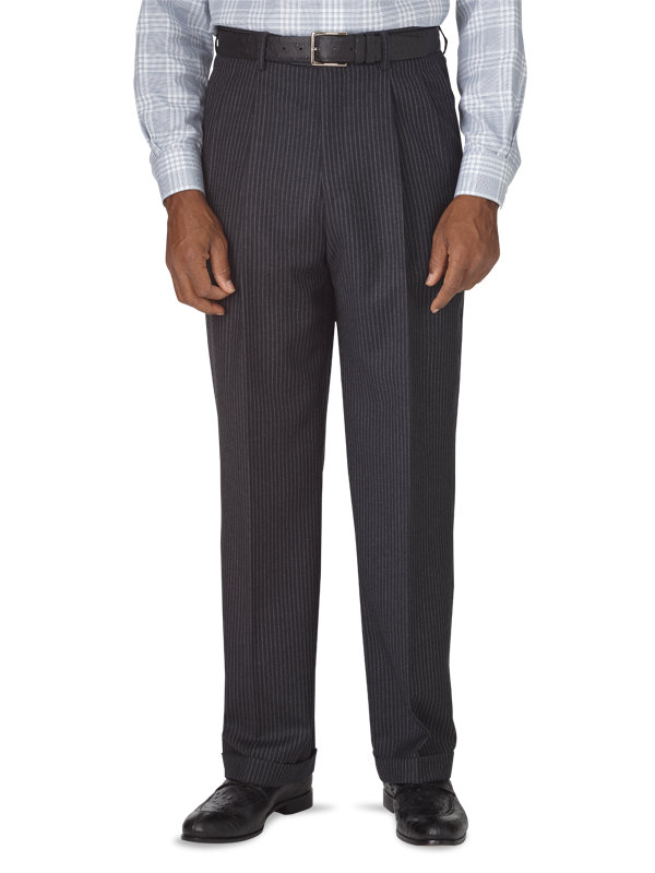Classic Fit Stripe Wool Pleated Suit Pant