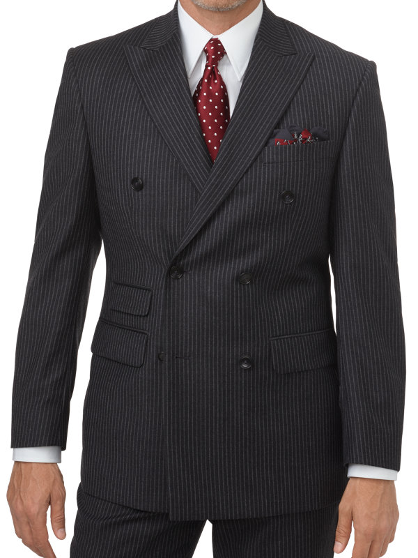 Tailored Fit Stripe Wool Double Breasted Peak Lapel Suit Jacket