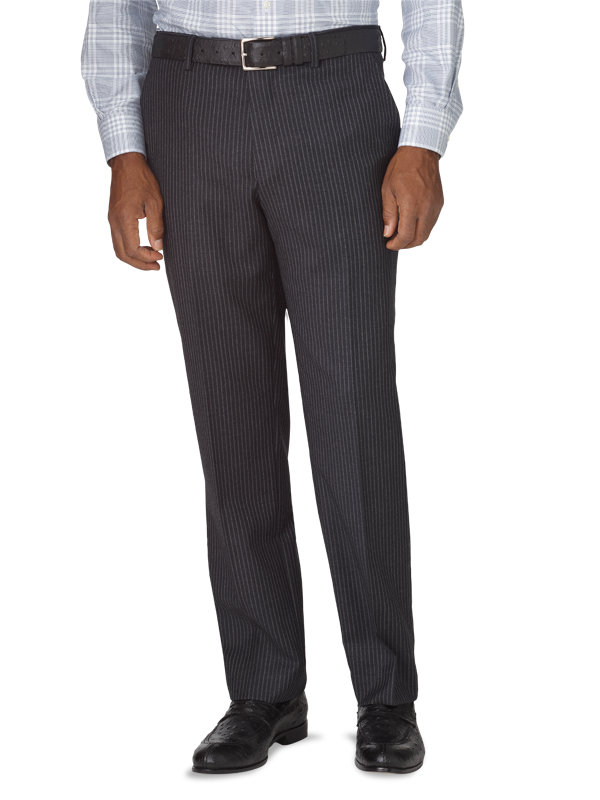 Tailored Fit Stripe Wool Flat Front Suit Pant