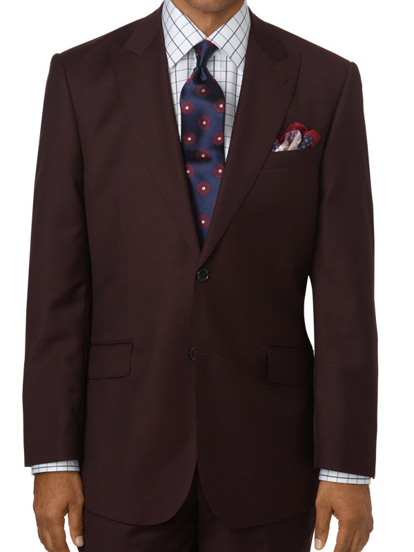Tailored Fit Sharkskin Single Breasted Peak Lapel Suit Jacket