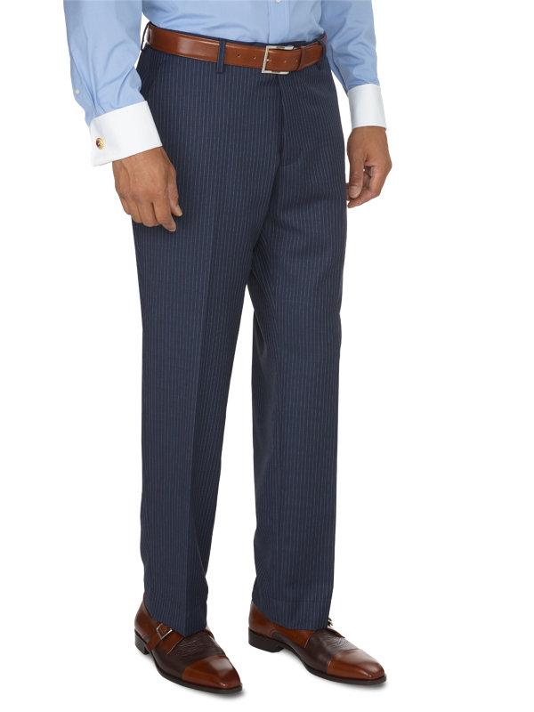 Tailored Fit Stripe Flat Front Suit Pant