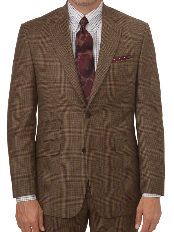 Tailored Fit Glen Plaid Notch Lapel Suit Jacket