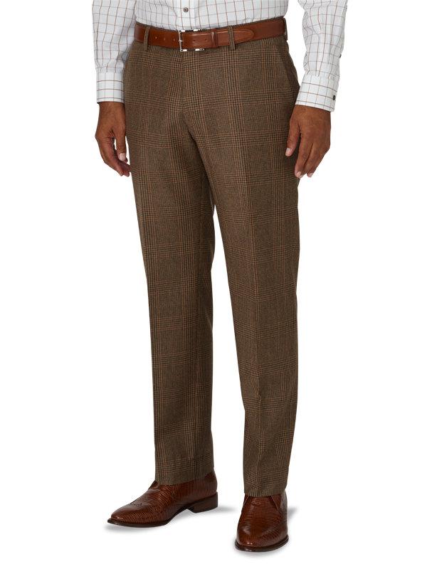 Tailored Fit Glen Plaid Flat Front Suit Pant