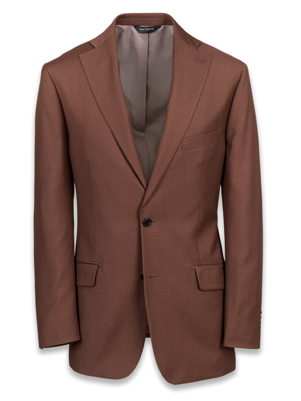 Solid Wool Notch Lapel Suit Jacket