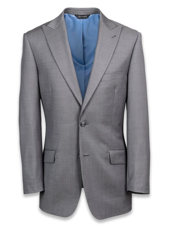 Solid Wool Peak Lapel Suit Jacket
